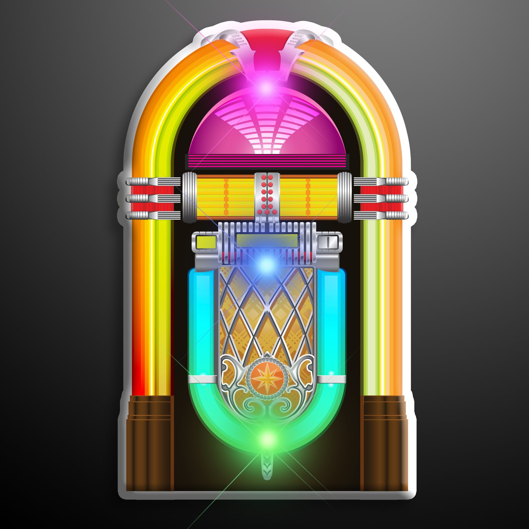 1950's Jukebox Light Up Flashing LED Lapel Pins (Set of 25)
