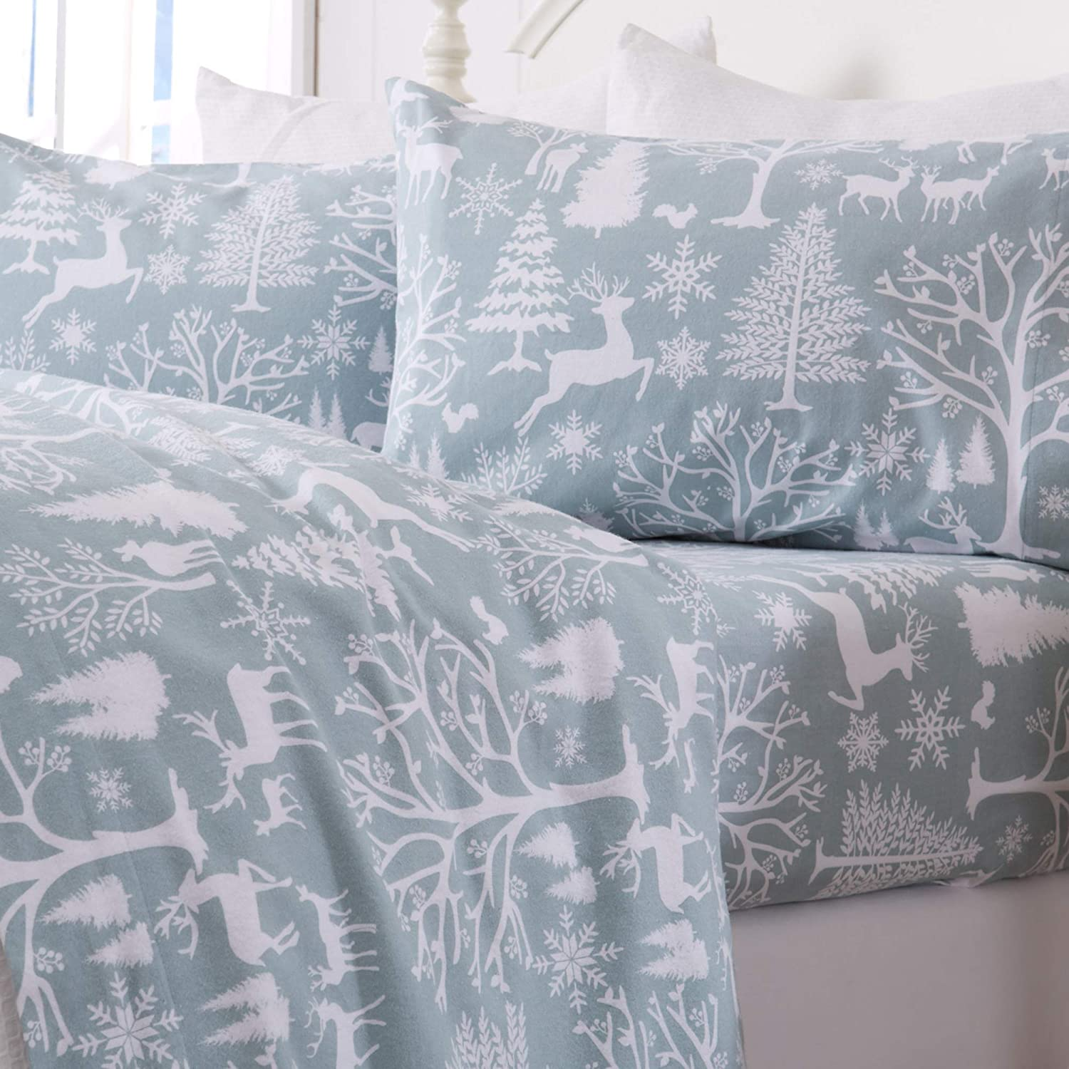 Great Bay Home Extra Soft Enchanted Woods 100% Turkish Cotton Flannel Sheet Set. Warm, Cozy, Luxury Winter Bed Sheets. Belle Collection (Queen, Blue)