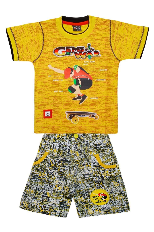 Little Hub Little Boys' Cotton Clothing Set 5-6 Years Yellow