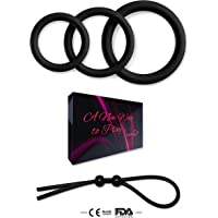Viardeji Cock Ring Set Male Sex Toy – 3 Penis Rings and 1 Adjustable Penis Tie