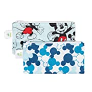Bumkins Reusable Snack Bag Small 2 Pack, Disney, Mickey Mouse (Classic/Icon)