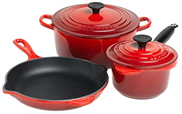 Le Creuset Essential Enameled Cast Iron 5 Piece Cookware Set, Satin Red