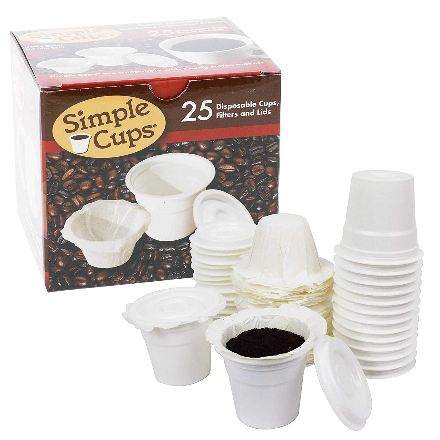 Disposable Cups for Use in Keurig® Brewers - Simple Cups - 25 Cups, Lids, Filters with Easy Close Stand - Use Your Own Coffee