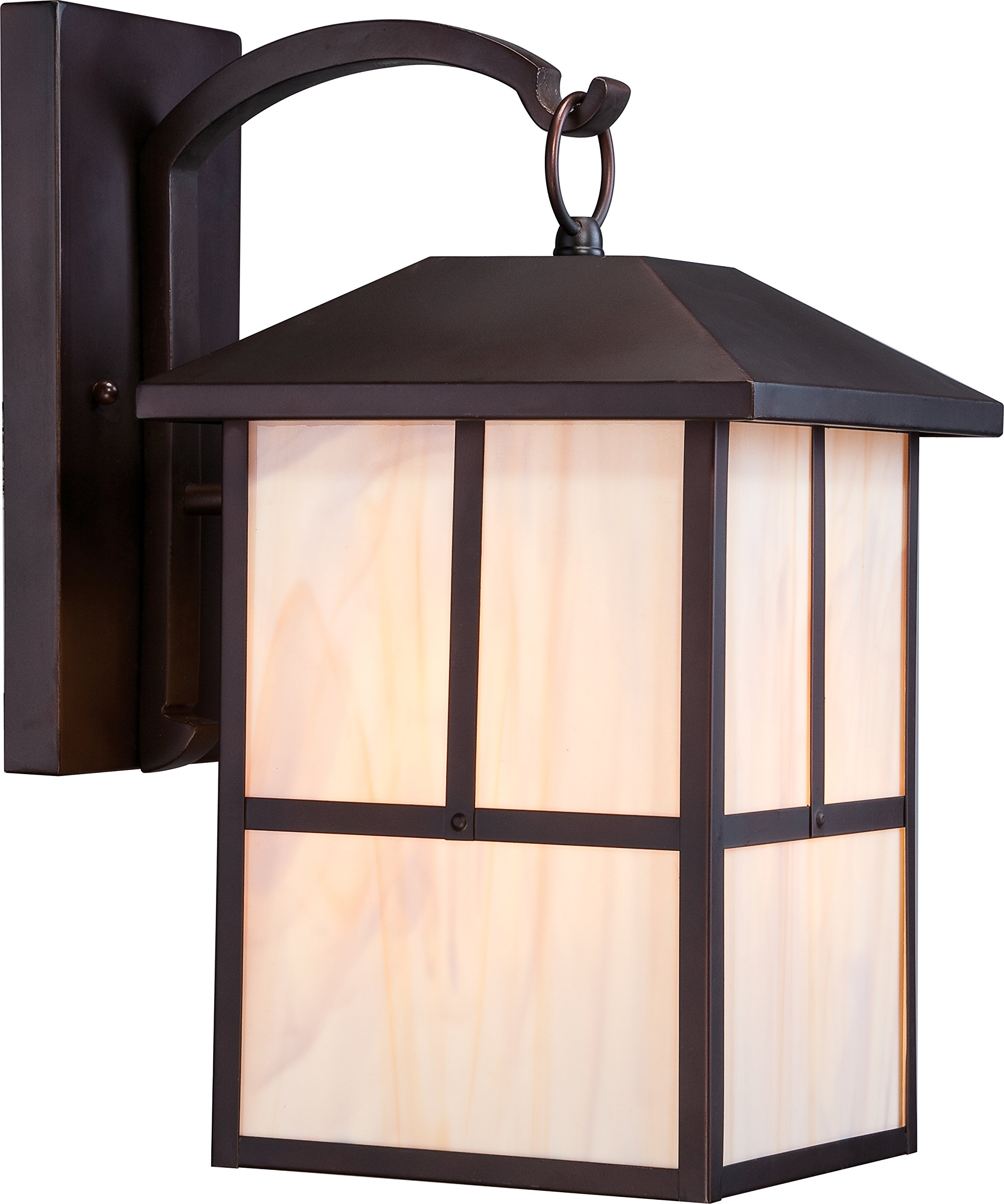Nuvo Lighting 60/5673 Tanner Large One Light Wall Lantern 100-watt A19 Outdoor Porch and Patio Lighting with Honey Stained Glass, Claret Bronze