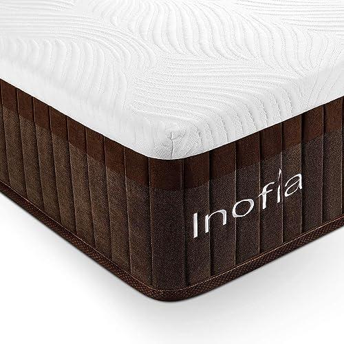 Inofia Queen Mattress,11.4 Inch Hybrid Memory Foam Mattress