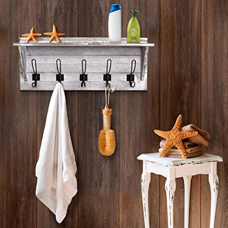 Rustic Wall Mounted Coat Rack Shelf - Wooden Country Style 24