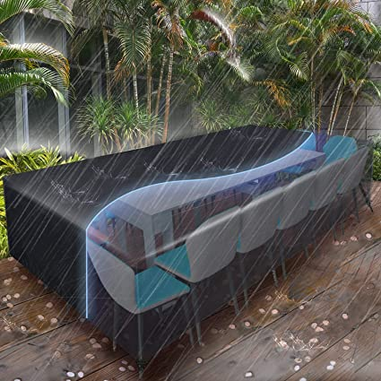 Amazon Com Essort Patio Furniture Covers Extra Large Outdoor Furniture Set Covers Waterproof Rain Snow Dust Wind Proof Anti Uv Fits For 12 Seats 124 X63 X29 210d Garden Outdoor