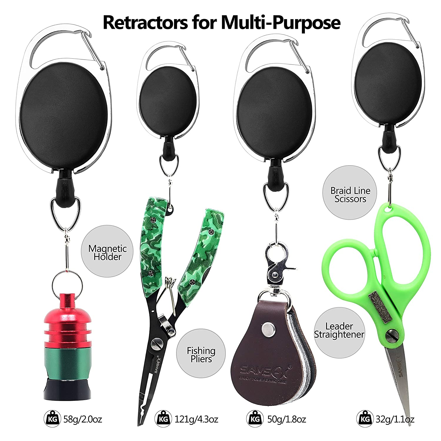 Zinger Retractors Optional SAMSFX Fishing Quick Knot Tool Combo 3.7 Length /& More Wider Finger Pads Fishing Line Knot Tyer Tool