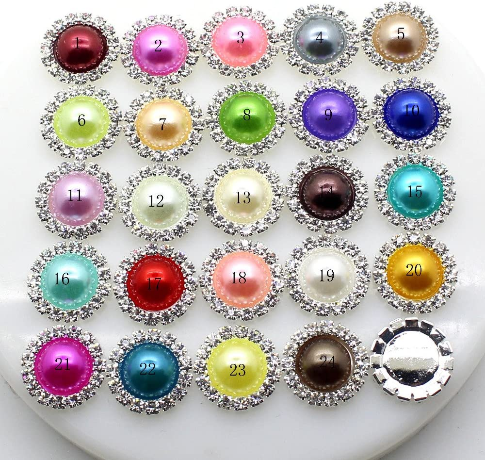 10Pcs/Lot 15Mm Pearl Wedding Diamond Buttons Factor Outlets Rhinestones DIY Hair Accessory Decorative Button,1