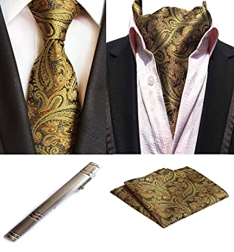 9d046044aacc MOHSLEE Mens Luxury Gold Paisley Tie Silk Necktie Cravat/Ascot Pocket  Square Set