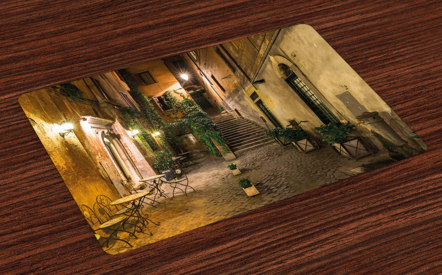 Ambesonne Italian Place Mats Set of 4, Old Courtyard Rome Italy Cafe Chairs City Historic Houses in Street, Washable Fabric Placemats for Dining Room Kitchen Table Decor, Orange Brown