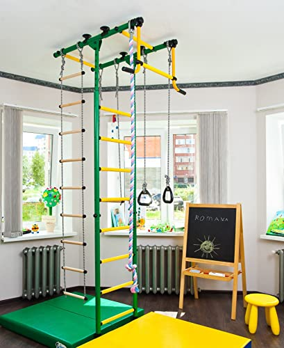 Comet-1 Kids Indoor Home Gym Swedish Wall Rope Ladder Rings Trapeze
