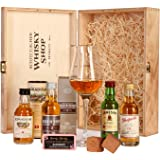 Schottischer Whisky Shop Whiskyset (4 x 0.05 l) - Glenfarclas 15, Edradour 10, Auchentoshan 12, Jameson, Spiegelau Whiskyglas und BoojaBooja Schokolade-Himbeer