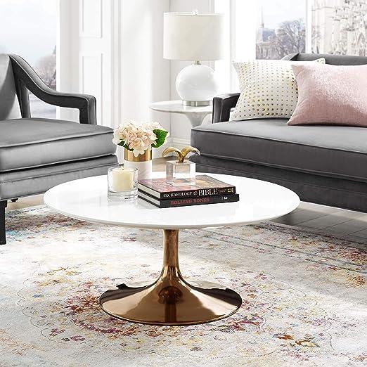 Amazon Com Modway Lippa Mid Century Modern 36 Round Coffee Table