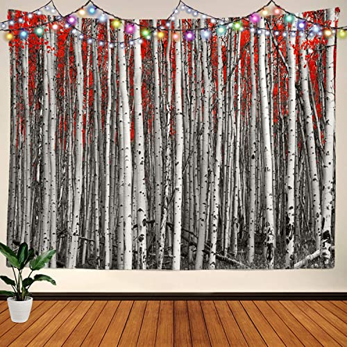 BaoNews Red Leaves Black and White Tapestry, Forest Birch Tree Forest Large Wall Hanging Tablecloths Mural Decoration Psychedelic Tapestry Bedroom Living Room Dorm 59.1 x 82.7 inches Red Black White