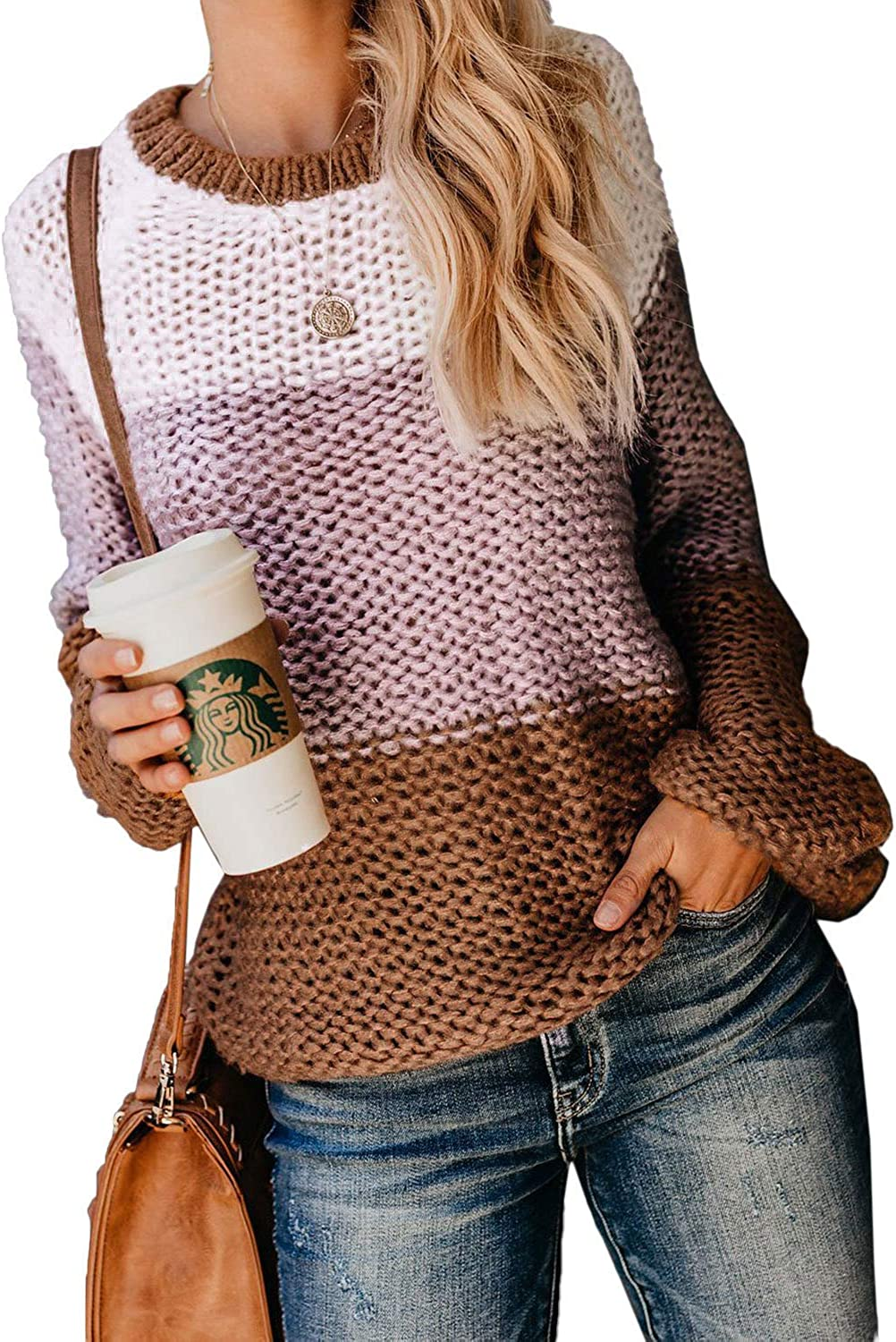BLENCOT Women Colorblock Knit Sweater Casual Crewneck Thick Long Sleeve Tops Pullover