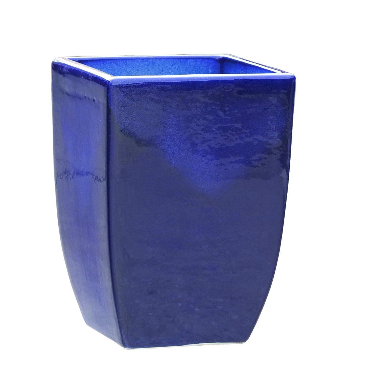 Großer Pflanztopf Pflanzkübel eckig frostsicher Größe L 28 x B 28 x H 39 cm, Farbe effekt blau, Form 227.039.64 Pflanzkübel quadratisch Qualität von Hentschke Keramik
