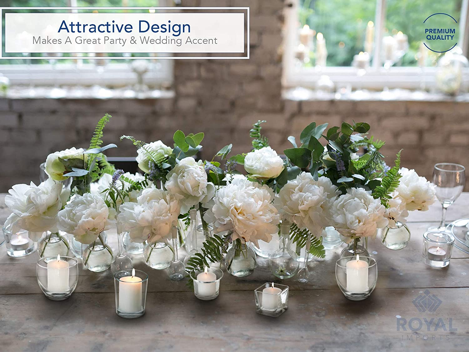 Unfilled Oyster Holiday /& Home Decoration Set of 24 Royal Imports Candle Holder Glass Votive for Wedding Birthday