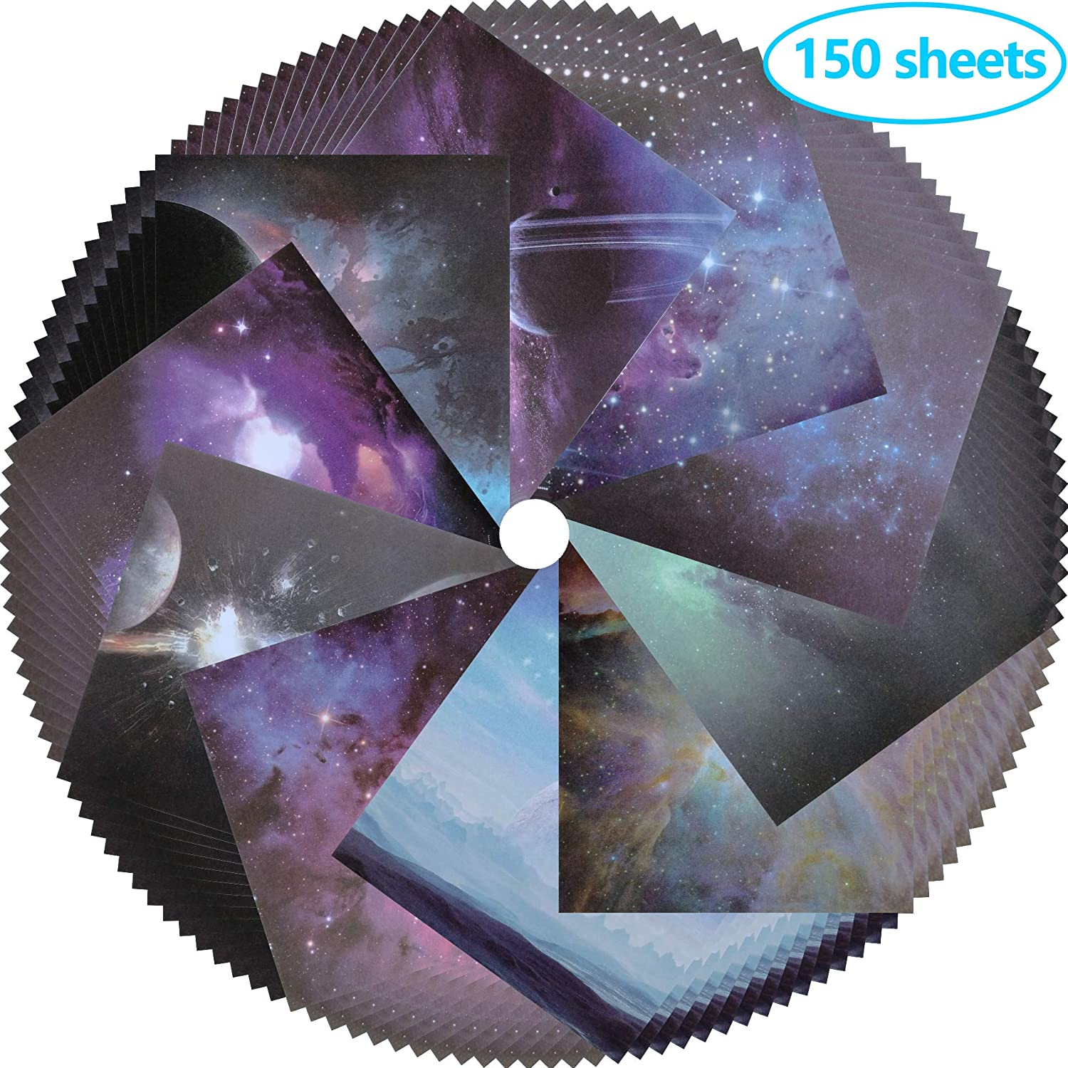 10 Different Patterns 150 Sheets Origami Paper Starry Sky Square Folding Paper for Arts and Crafts, 6x6inch Frontoper