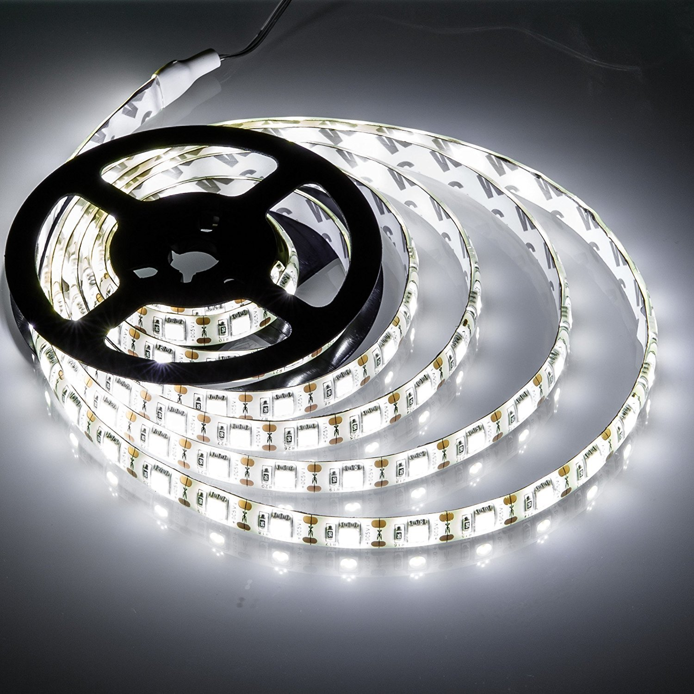 Battery Powered Led Strip Lights,Geekeep Waterproof Flexible LED Light Strips SMD 5050 LED Ribbon Light Mood Light (2M/6.56ft, Cool White)