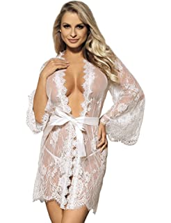 ohyeahlady Women Lace Robe Lingerie Nightdresses Plus Size Sheer Kimono Long … d1ea7fb83