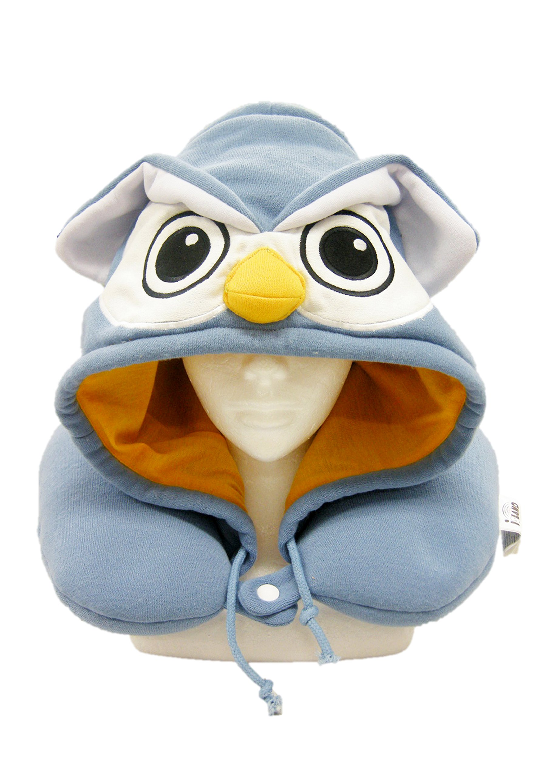 SAZAC Animal Neck Support Pillow - Soft, Cozy Travel Cushion with Adjustable Toggle - Attached Hood for Warmth and Privacy - Authentic Japanese Kawaii Design - Premium Quality (Owl)