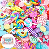 Holicolor 120pcs Slime Charms Cute Set Resin Charms Mixed Assorted Candy Sweets Resin Flatback Slime Beads Making Supplies fo