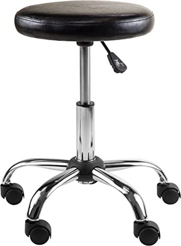 Winsome Wood Clark Round Cushion Swivel Stool with Adjustable Height