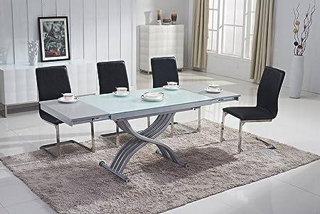 Mesa baja elevable de cristal con extensión (mesa transformable): Amazon.es: Hogar