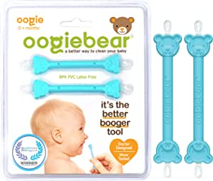 oogiebear - Patented Curved Scoop and Loop - The Safe Baby Nasal Booger and Ear Cleaner - Baby Shower Registry Essential | Easy Baby Nose Cleaner Gadget for Infants and Toddlers | Dual Earwax Snot Removal - Two Pack - Blue