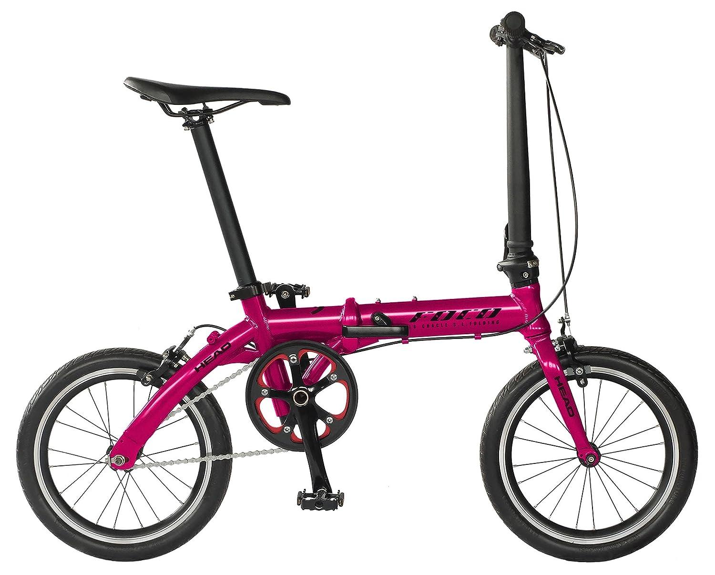 HEAD(ヘッド) ×CHACLE(チャクル) FOCO(フォッコ) フォールディングバイク [16インチ ノーパンク 軽量アルミフレーム シングルスピード 輪行 折りたたみ] FDR-CC-HE160AL B079Y9D52Qチェリーピンク