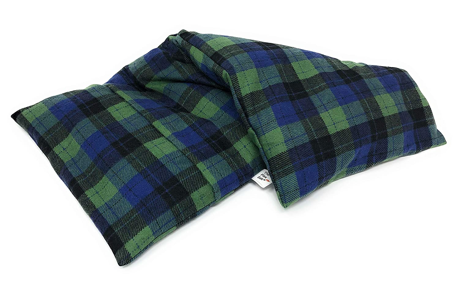 Microwavable Heating Pad | Hot or Cold Pack | Bed Warmer | Hot and Cold Therapy | Pain Relief | Large Unscented | Hunter Green and Blue Plaid