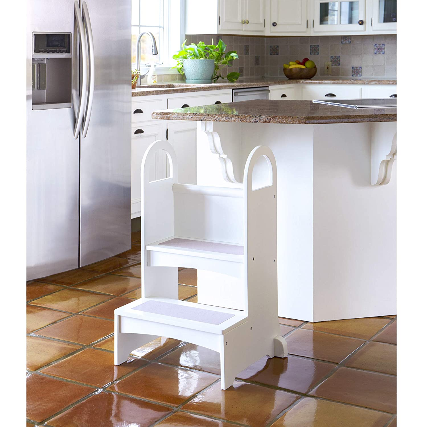 Surprising Guidecraft Kitchen Helper High Rise Step Up White Kids Step Stool With Handles Quality Wood Learning Furniture For Children Evergreenethics Interior Chair Design Evergreenethicsorg