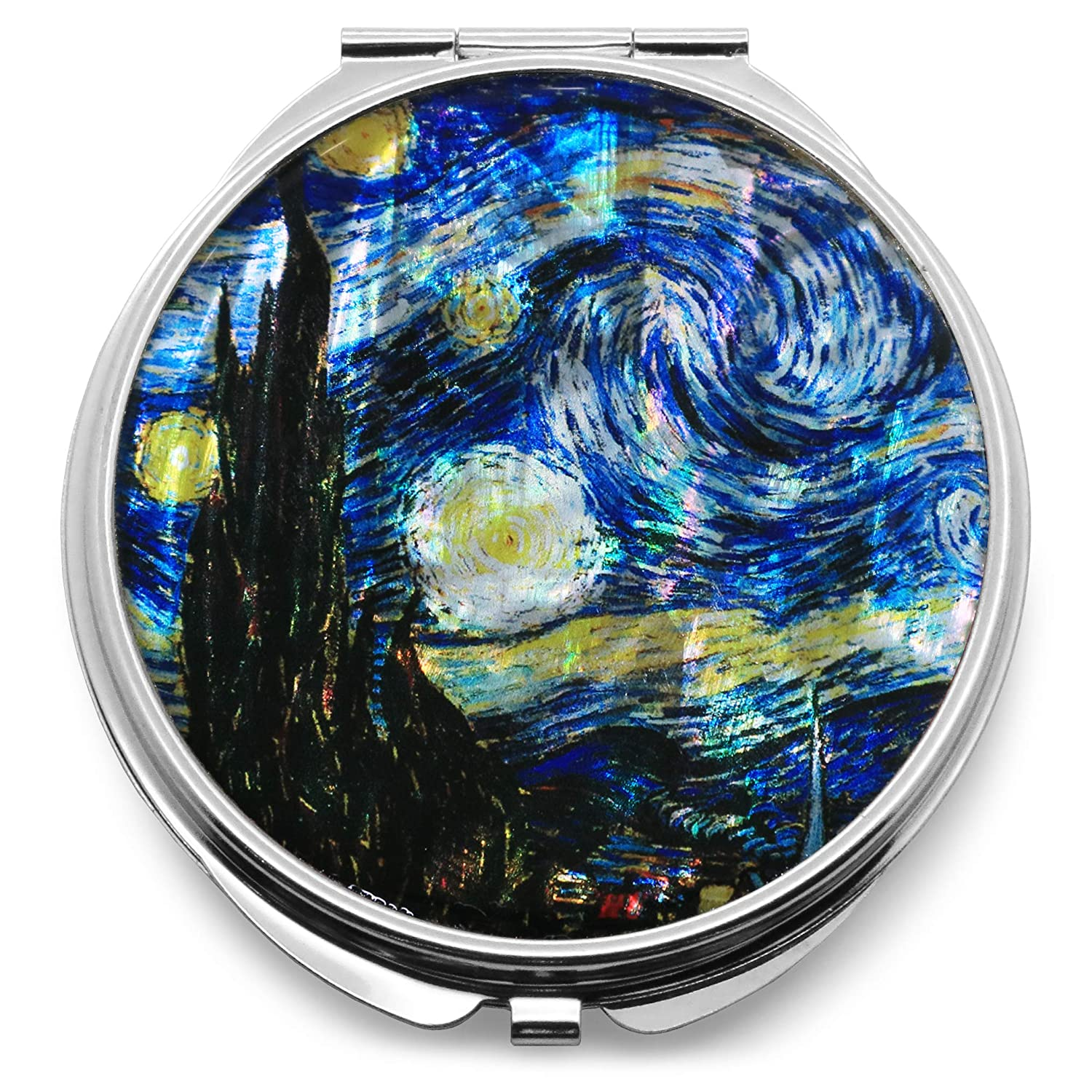 Compact Makeup Mirror Cosmetic Korean Mother of Pearl Lacquered Vincent Van Gogh The Starry Night Blue 2