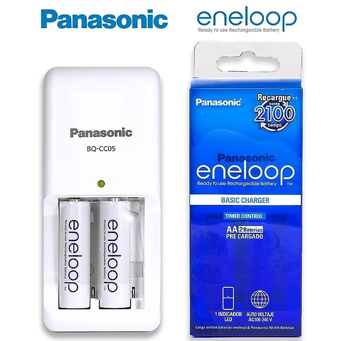 Panasonic eneloop Cargador w/2 x AA batería 1900 mAh Ni-MH ...