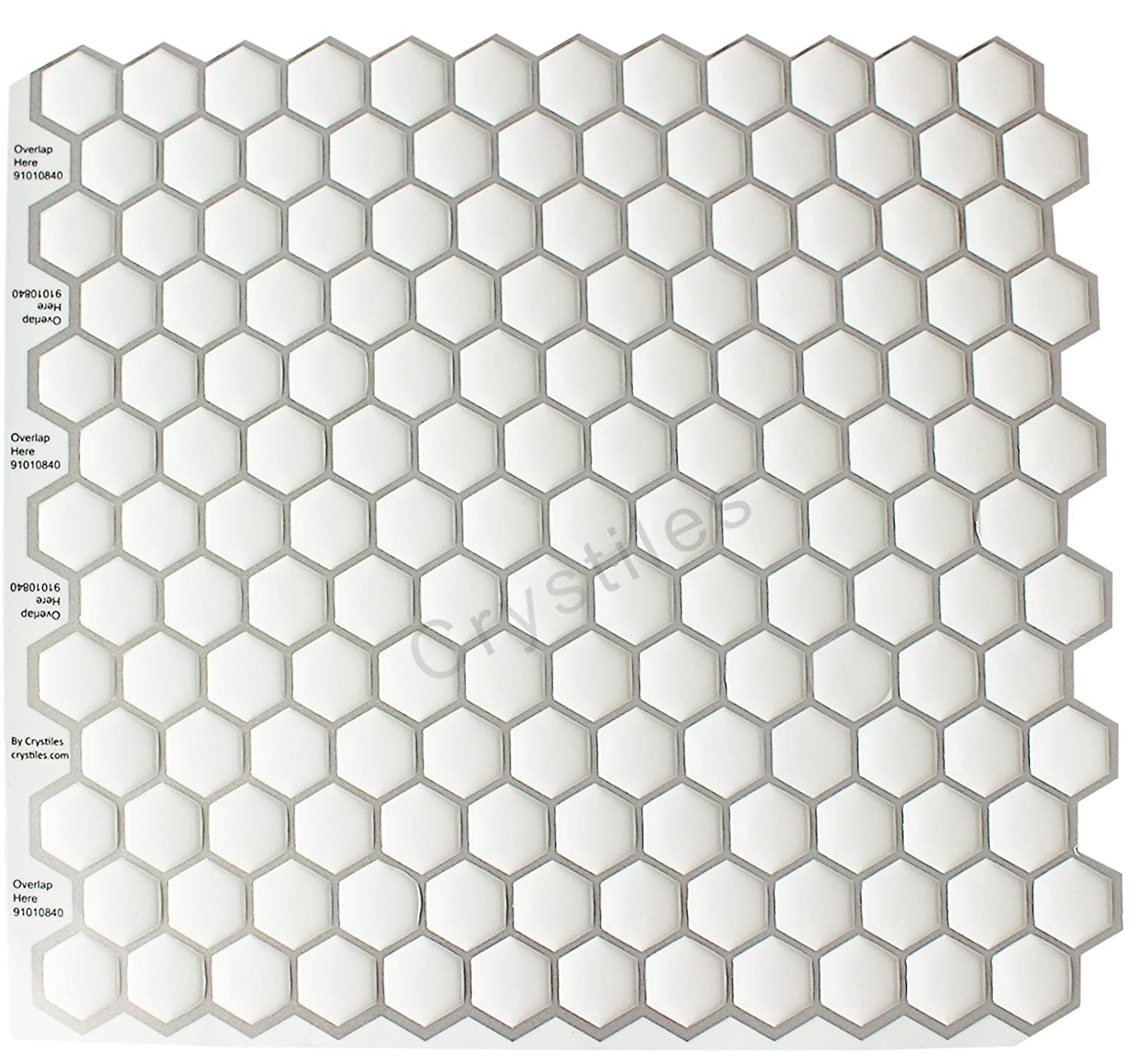 Crystiles Peel and Stick Self-Adhesive Vinyl Wall Tiles, Hexagon White, Item# 91010840, 10 X 10, 1 Sheet Sample 10 X 10 91010840S