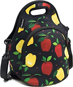 Insulated Bags – Reusable Apple Design Neoprene Lunch Bag – Lunch Cooler Bag with Carry Handle and Shoulder Strap – Waterproof Large Lunch Bag for Adults, Teens and Kids – Insulates for 4 Hours