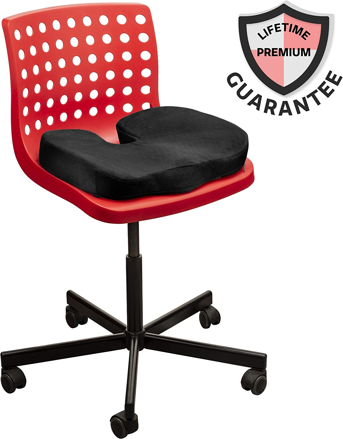 Seat Cushion Car Office Chair - Memory Foam Gel-Enhanced, Ergonomically & Large Designed Pillow for Sciatica, Tailbone, Coccyx Back Pain, And Relief, Comfort - Seat Cushion Car Office Chair - Black: Home & Kitchen