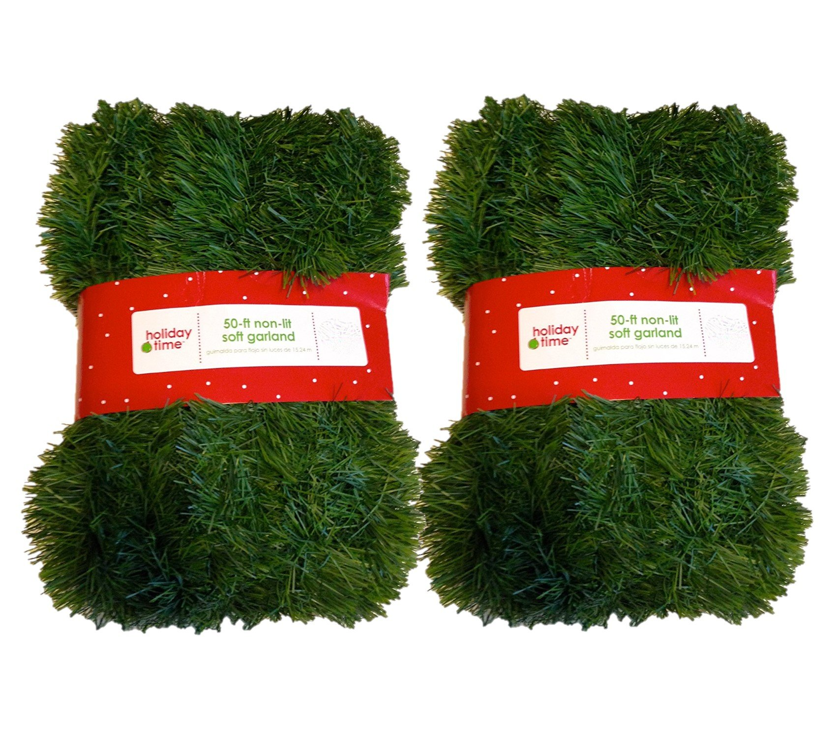 Holiday Time 50 Foot Non-Lit Green Holiday Soft Garland (Pack of 2)