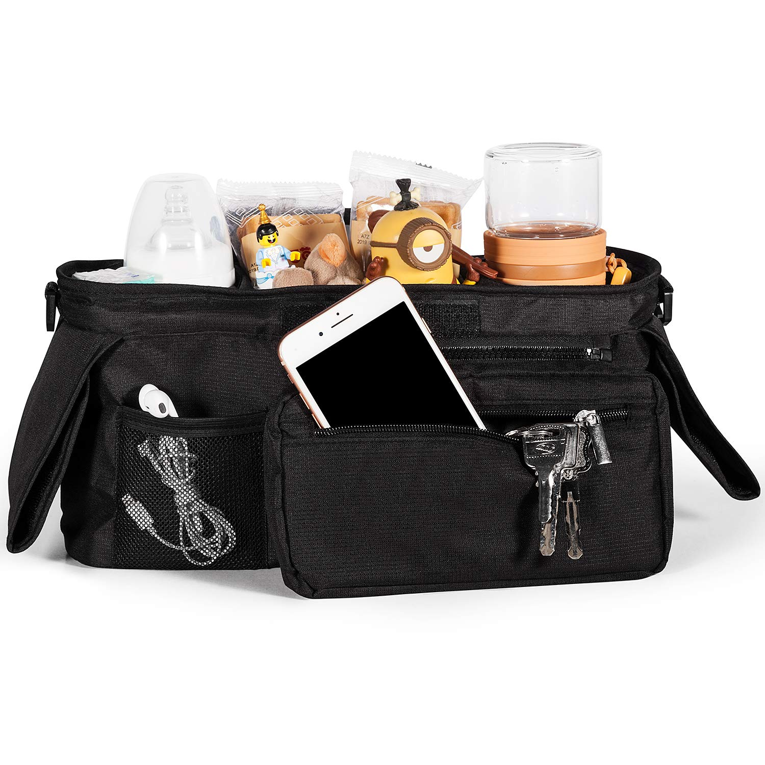 Universal Stroller Organizer with 2 Insulated Cup Holders, Lupantte Stroller Accessories, for Carrying Diaper, iPhone, Toys & Snacks, Fits Britax, Uppababy, Baby Jogger, Bugaboo and BOB Stroller. by Lupantte (Image #2)