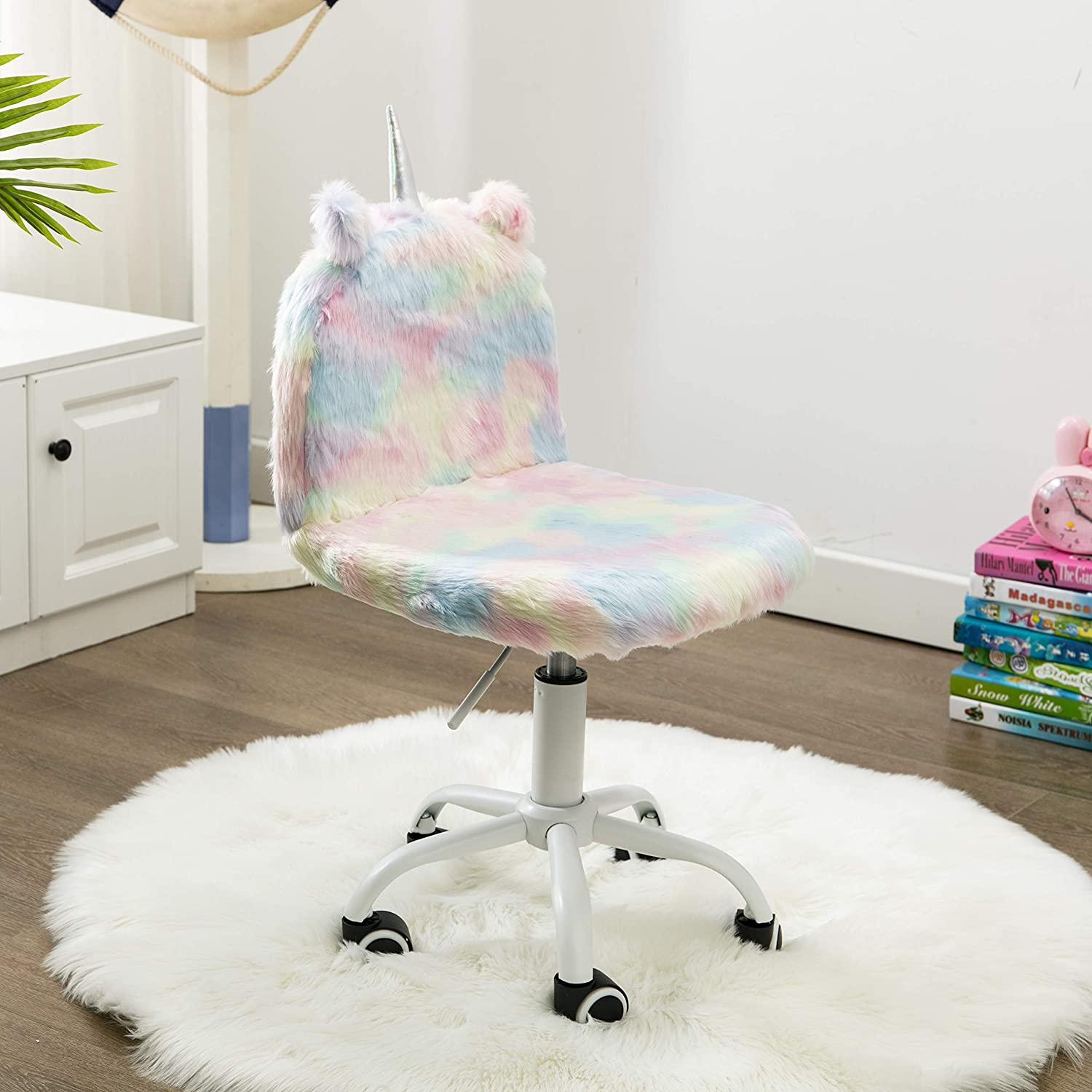 Children's Study Desk Chair, Sweat Seats Kids Colorful Chair Cute Animal Computer Rolling Swivel Chair With White Foot