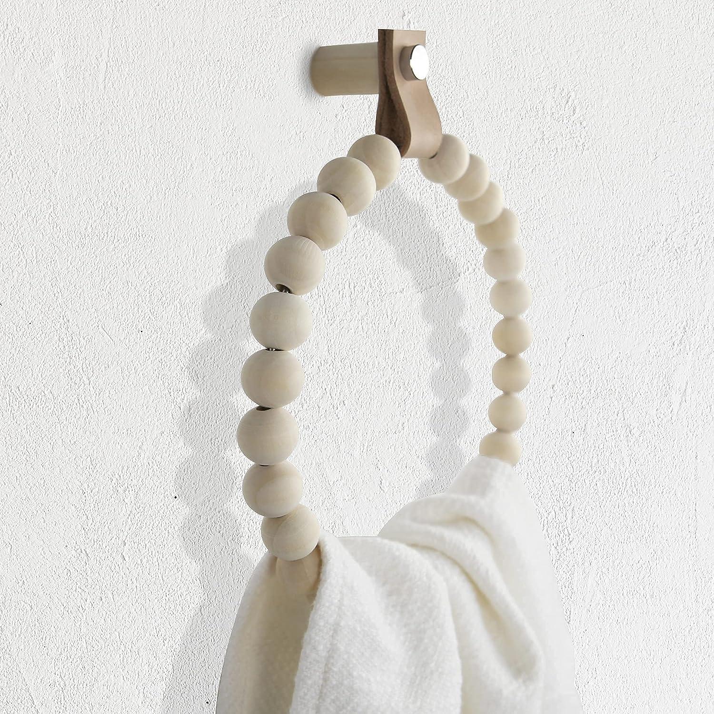 niuniu Handmade wood towel ring boho towel holder wooden towel rack boho bathroom decor accessories wooden towel racks for bathroom boho beads rustic wall decor towel wood garland bead garland Circle1