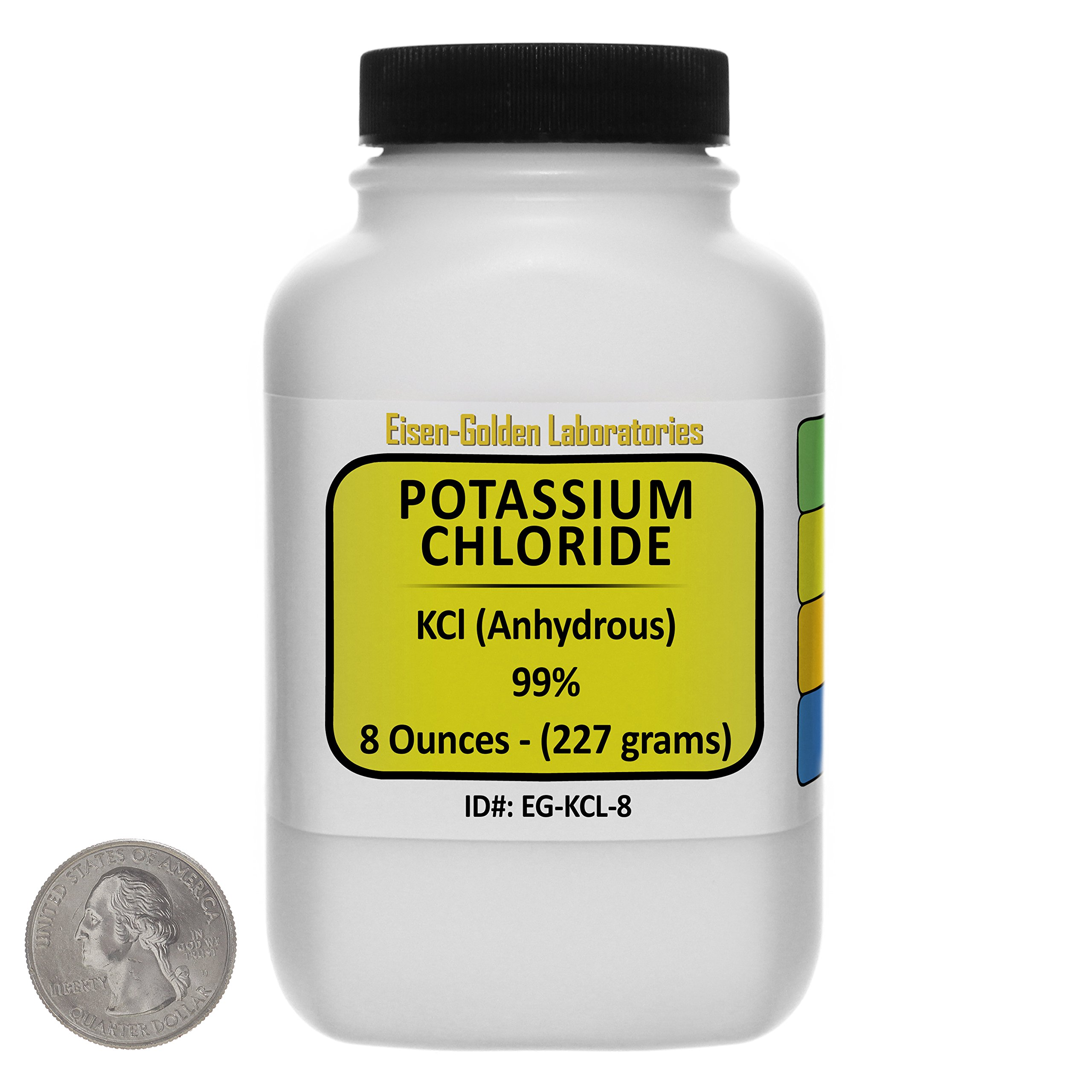 Potassium Chloride [KCl] 99% ACS Grade Powder 8 Oz in a Space-Saver Bottle USA by Eisen-Golden Laboratories