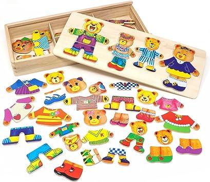 Vesti la Famiglia Orsi Puzzle Legno Bambini Educativi Giocattolo
