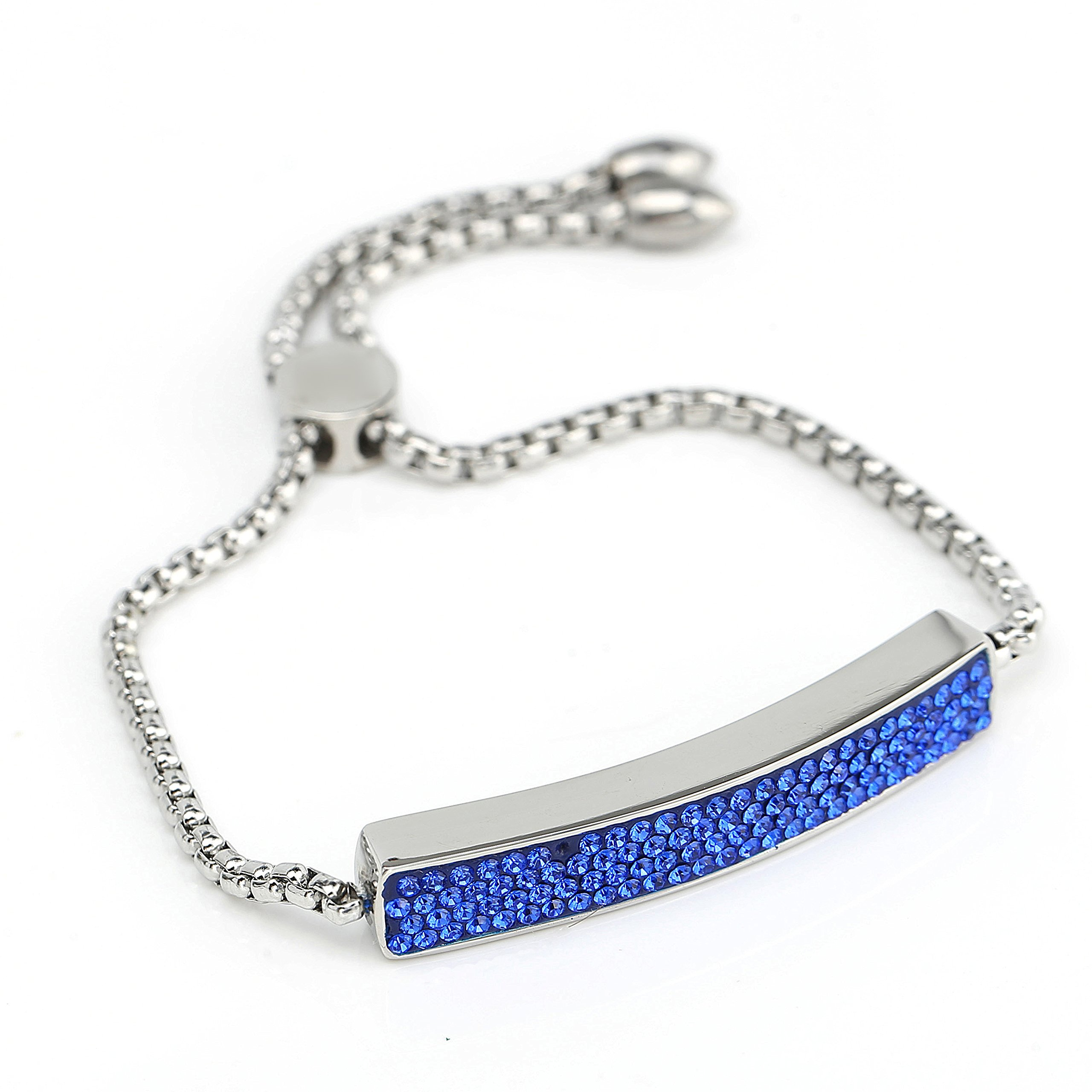 United Elegance Stylish Designer Bar Bracelet with Exquisite, Sparkling Sapphire Blue Embedded Swarovski Style Crystals and Adjustable Bolo