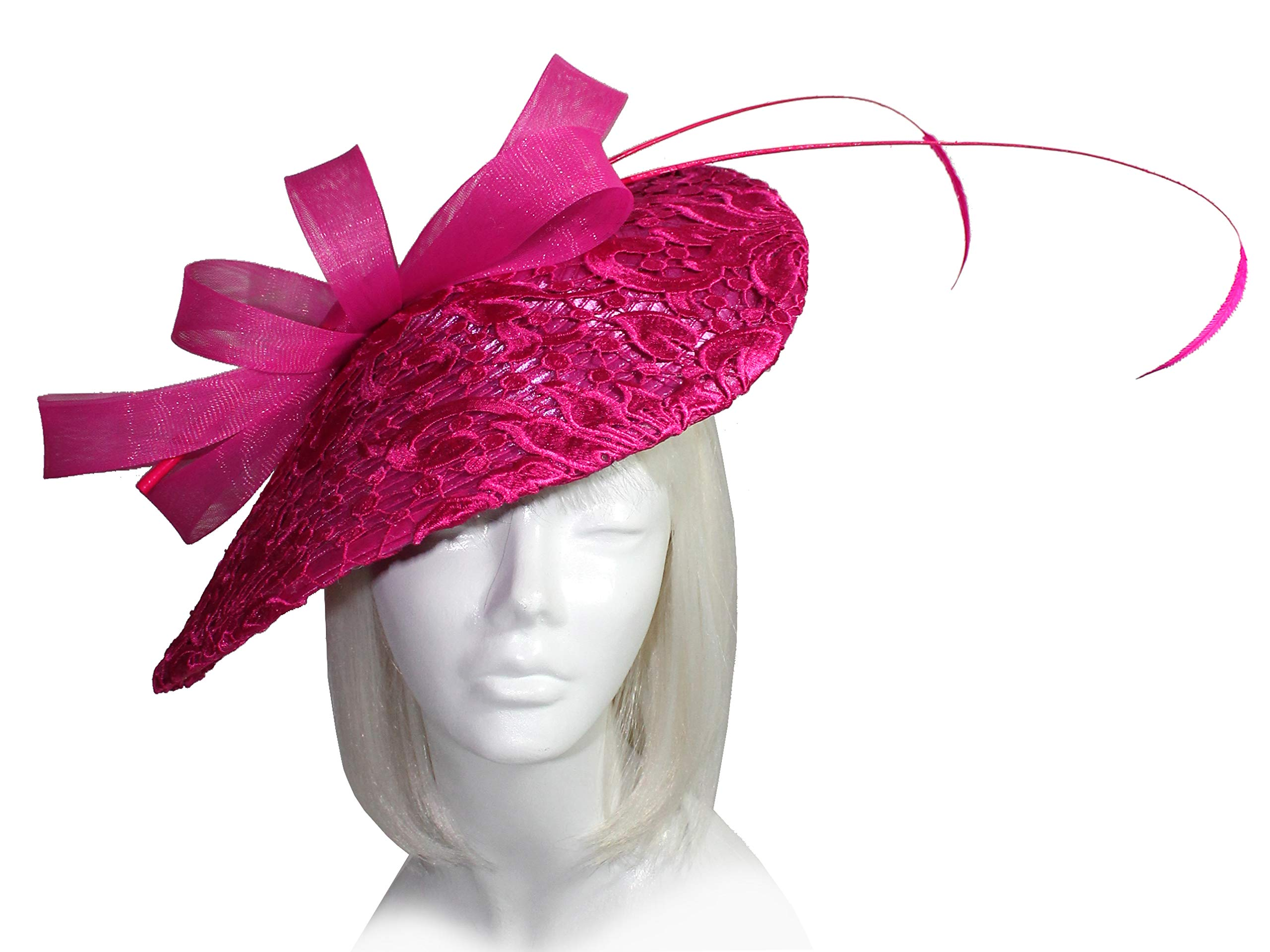 Mr. Song Millinery All-Season Derby/Ascot Sinamary Profile Dome-Dish Headband Fascinator - AF82 Pink