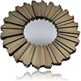 West5Products 1x Round Distressed Sunburst Design Mirror Champagne Gold Dia 25cm
