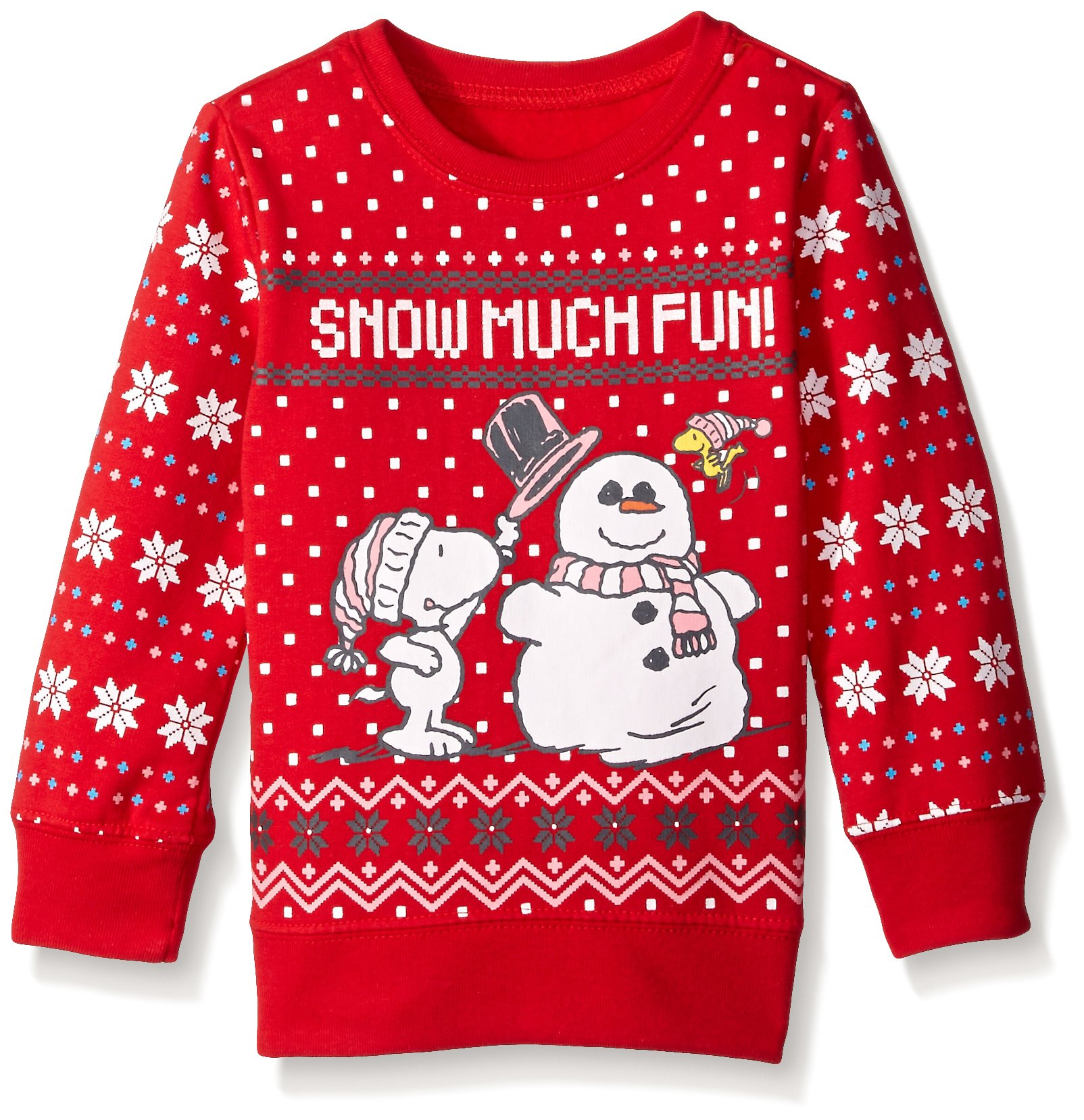 Peanuts Little Girls' Snow Much Fun Nordic Crewneck Sweater, Red, 4T