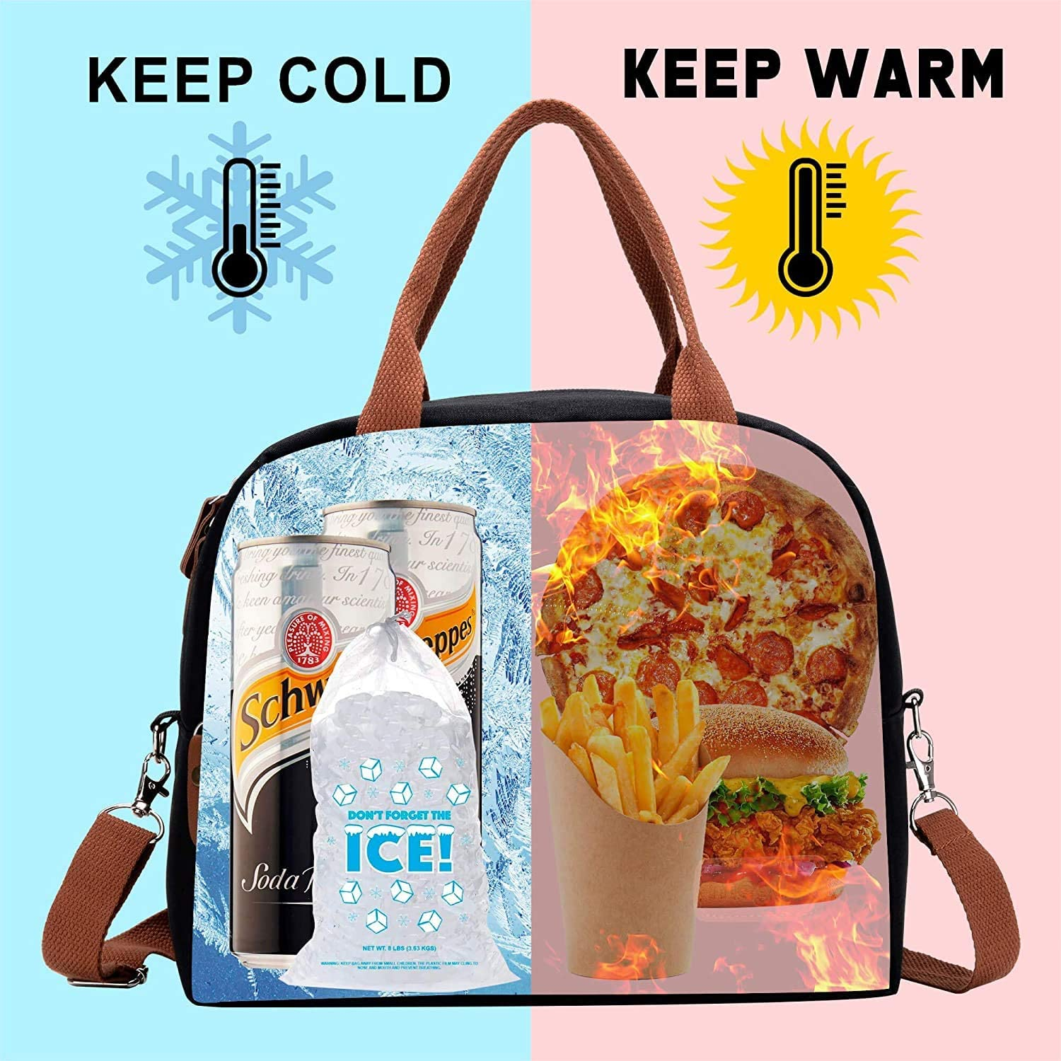 Ultra Portable Mini Pinic Bag for Work School Outdoor BBQ Camping Adults Women Men Lunch Cool Bag with Adjustable Strap LENRUE Insulated Lunch Bags