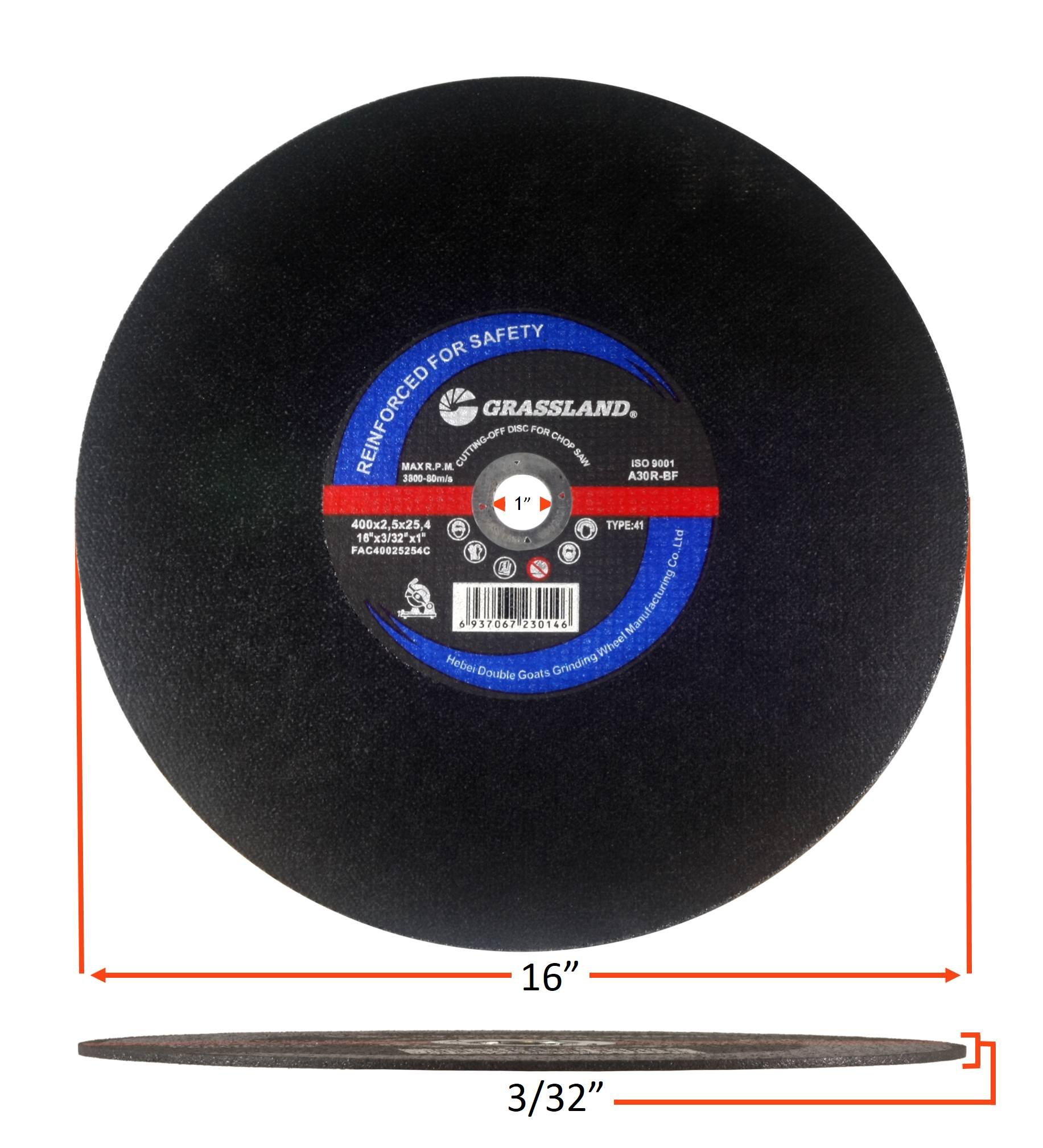 Cutting Disc, Steel Cut-off Wheel for Chop Saw - 16'' x 3/32'' x 1'' - T41 - (10 PACK) by GRASSLAND (Image #3)